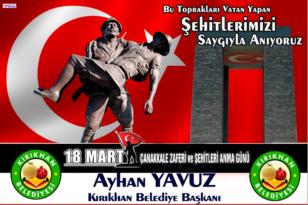 """BAŞKAN YAVUZ """"ÇANAKKALE ZAFERİ TÜRKÜN ZAFERİDİR''"""