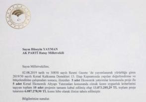 "MİLLETVEKİLİ YAYMAN"" 10 PROJE KABUL EDİLDİ"""
