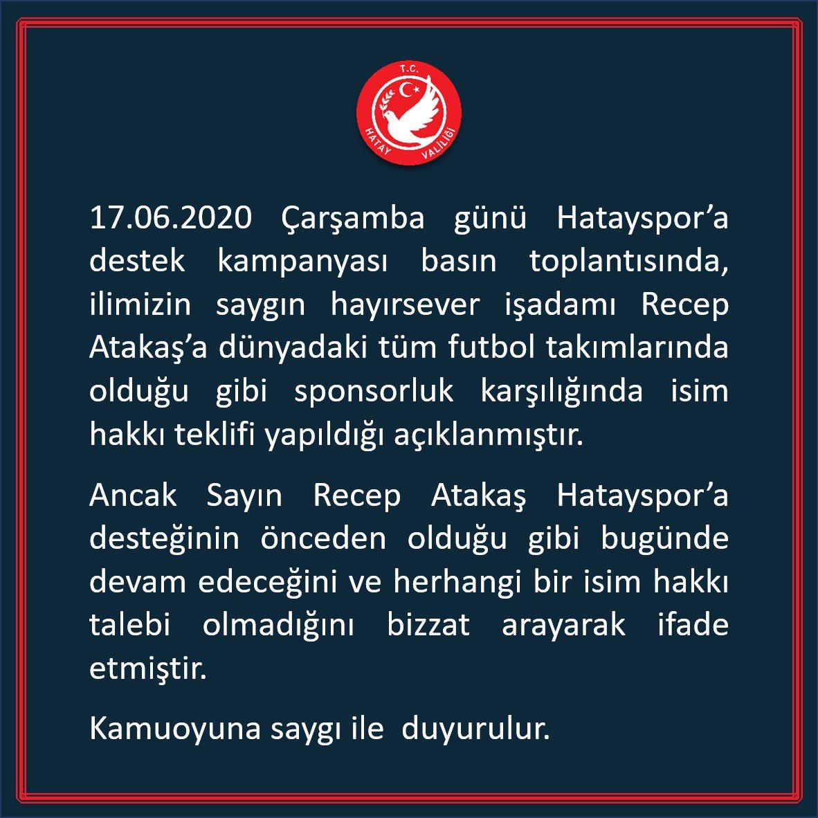 """ATAKAŞ'TAN İSİM TALEBİ OLMADI"""