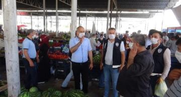 Kırıkhan'da Pazarda maske denetimi