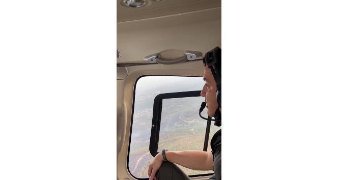 Bakan Pakdemirli helikopterle yangın bölgesini inceledi