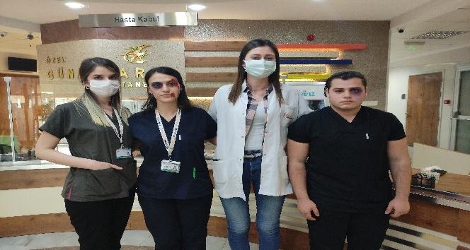Yüzlerini boyayarak sağlıkçılara şiddete dikkat çektiler