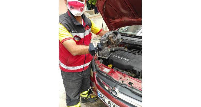 Otomobilin motor bölümünde sıkışan kediyi itfaiye kurtardı