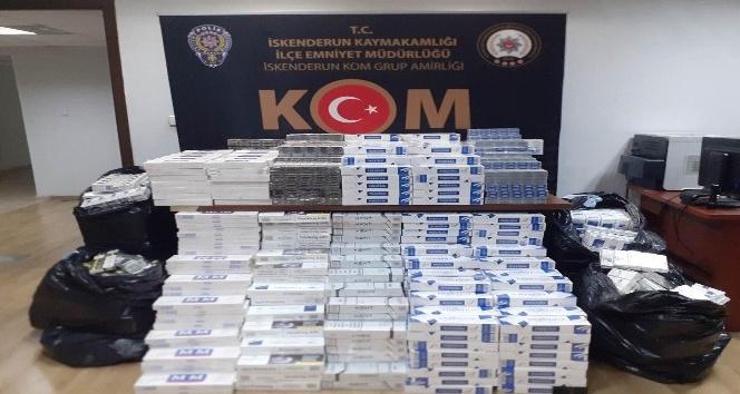 İskendurun'da 12 bin 420 paket kaçak sigara ele geçirildi