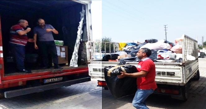 Payas'tan Manavgat'a 1 kamyon yardım malzemesi
